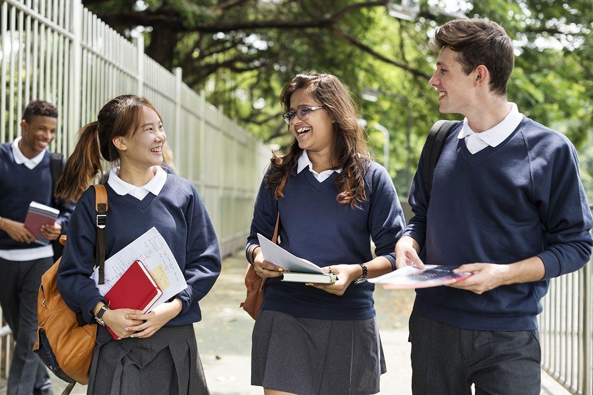 A group of School Kids Walking